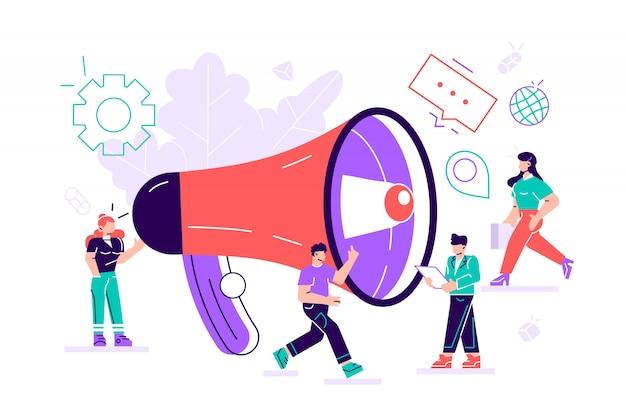 Relaciones públicas y asuntos, el equipo de marketing trabaja con un gran megáfono, avisos publicitarios, propaganda, bocadillos, promoción en redes sociales.