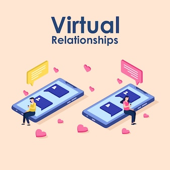 Relaciones virtuales, citas en línea y concepto de redes sociales
