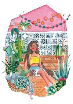 Relajación en invernadero con plantas suculentas cactus acuarela ilustración sobre fondo blanco.