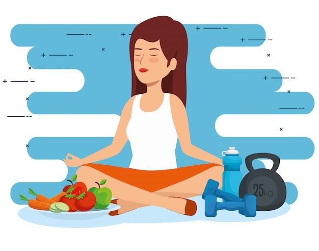 Relajación de la mujer al bienestar de estilo de vida saludable
