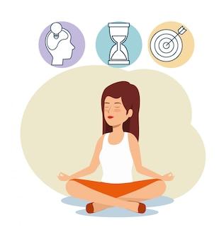 Relajación de mujer con reloj de arena y objetivo para equilibrar