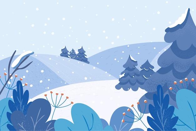 Relajante paisaje plano de invierno