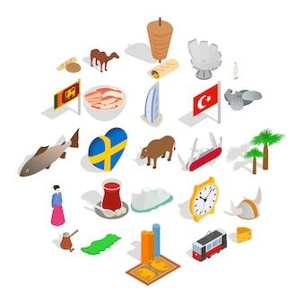 Relajarse en conjunto de iconos de vacaciones, estilo isométrico