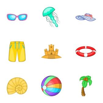 Relájese en el conjunto de iconos de playa, estilo de dibujos animados