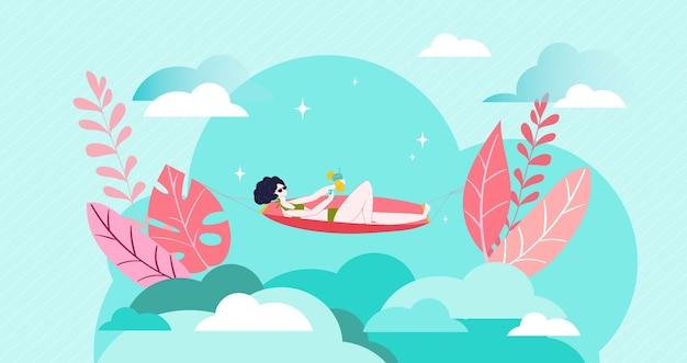 Relájese en vacaciones de niña, toma el sol en la playa día caluroso de verano, traje de baño de mujer mostaza en la playa, ilustración. fondo joven bronceado hermosa dama, turismo vacaciones temporada naturaleza.