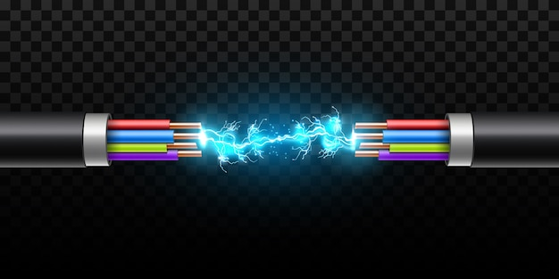 Relámpago eléctrico entre cables de rotura