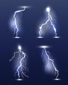 Relámpago realista. energía brillo clima especial efectos de tormenta poder electricidad huelga símbolos 3d