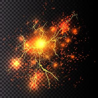 Relámpago relámpago luz trueno chispas. rayo fractal de fuego y hielo, ilustración de energía de plasma