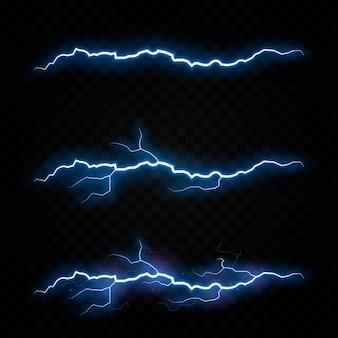 Relámpago trueno tormenta eléctrica vector perno png tormenta eléctrica efecto de luz cielo destello gráfico aislado fondo realista conjunto eléctrico energía tormentoso huelga rayo transpa