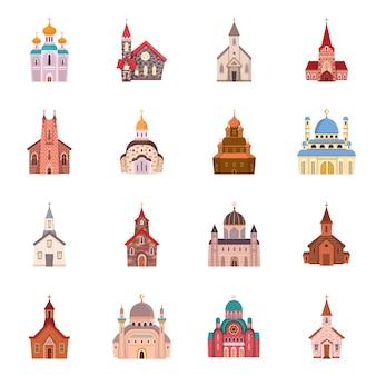 Religión y construcción. establecer el símbolo de stock de religión y fe.