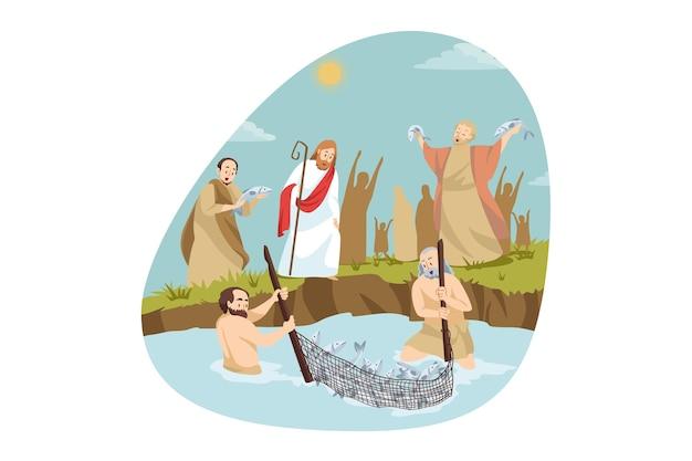 Religión, cristianismo, concepto bíblico. jesucristo, hijo de dios, personaje religioso bíblico cristiano, el mesías, ayudando a los pescadores emocionados felices capturando comida para peces en el lago. milagro divino y poder del señor.