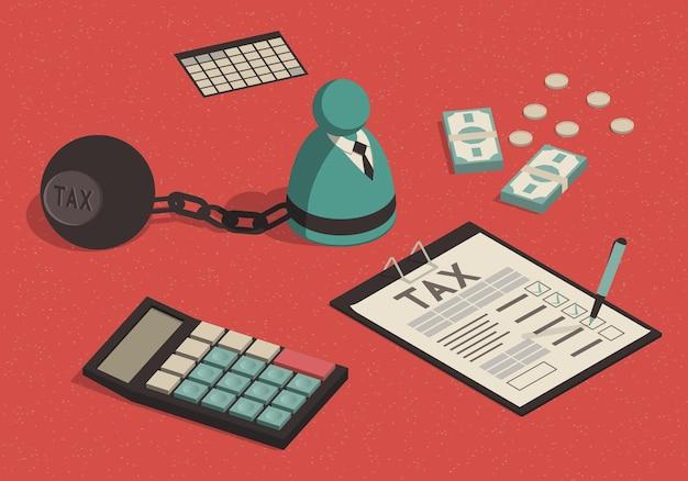 Relleno isométrico y cálculo de un formulario de impuestos.