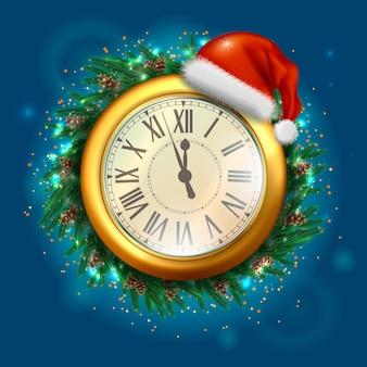 Reloj de año nuevo. feliz y feliz navidad