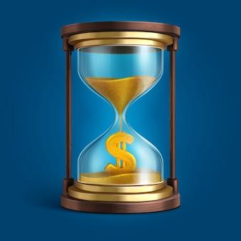 Reloj de arena con arena que fluye y signo de moneda dólar