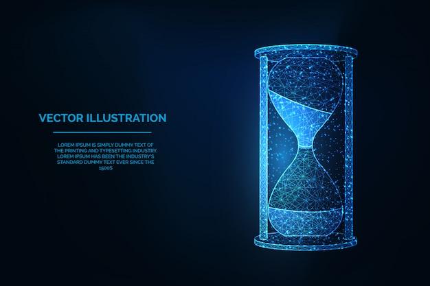 Reloj de arena baja ilustración de estructura poligonal