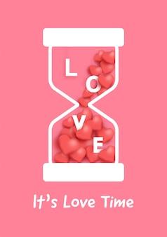 Reloj de arena con corazones rojos para la tarjeta del día de san valentín.