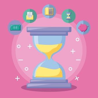 Reloj de arena con economía y financiero con conjunto de iconos