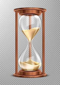 Reloj de arena de madera con arena que cae