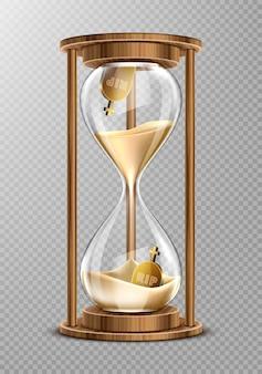 Reloj de arena en marco de madera con lápidas
