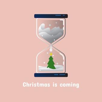 Reloj de arena navideño con árbol de navidad en diseño plano