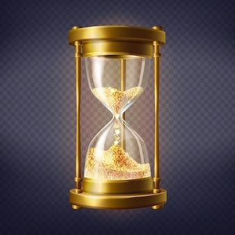 Reloj de arena realista, reloj antiguo con arena dorada en el interior.