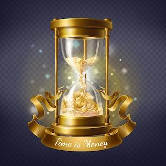 Reloj de arena realista, temporizador antiguo con arena en el interior para medir horas y minutos.
