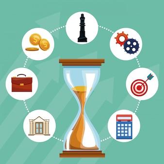 Reloj de arena con símbolos redondos de negocios