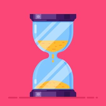 Reloj de arena de vidrio en rojo. ilustración plana