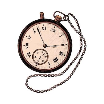 Reloj de bolsillo retro dibujado a mano