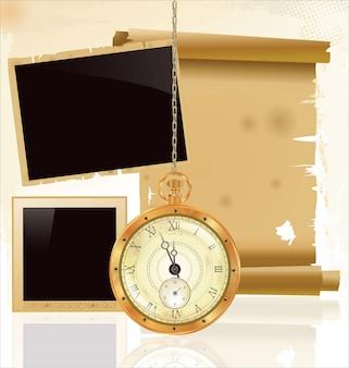 Reloj de bolsillo vintage y papel viejo.
