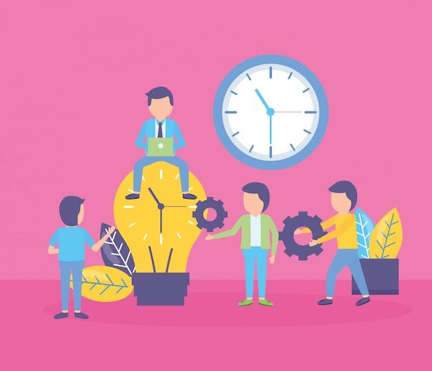 Reloj de bulbo de gente de negocios