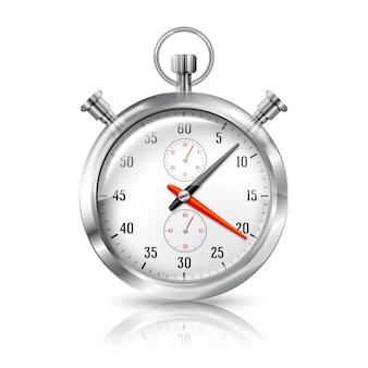 Reloj cronómetro plateado brillante con reflejo, aislado sobre fondo blanco.