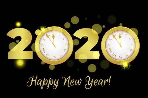 Reloj de cuenta atrás de año nuevo dorado brillante 2020