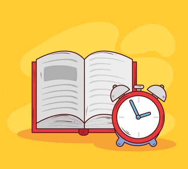 Reloj despertador de color rojo con diseño de ilustración de vector abierto de libro