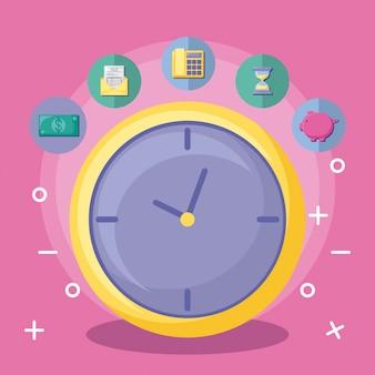 Reloj con economía y finanzas con conjunto de iconos.