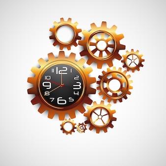 Reloj en forma de engranaje y color dorado sobre fondo blanco