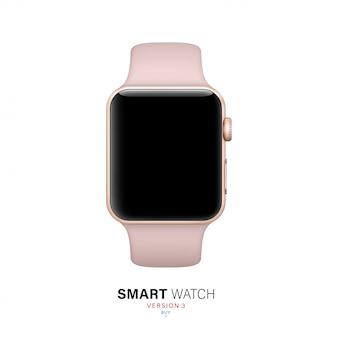 Reloj inteligente color rosa sobre fondo blanco.
