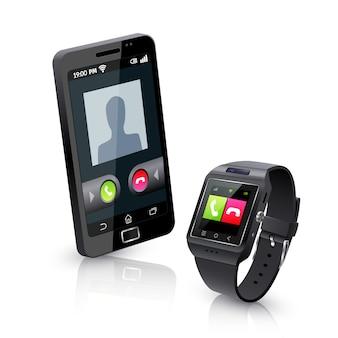 Reloj inteligente con composición realista de teléfono
