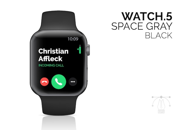 Reloj inteligente con ilustración realista de pulsera negra.