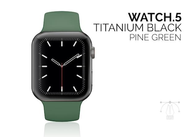 Reloj inteligente con ilustración realista de pulsera verde pino.