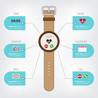 Reloj inteligente infografía en concepto de diseño plano con pantalla de iconos.