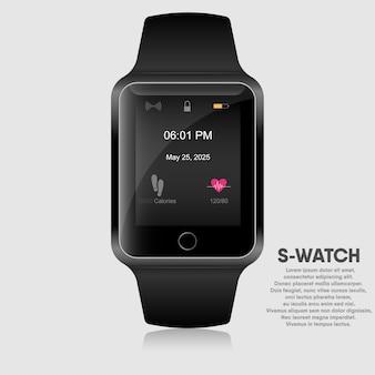 Reloj inteligente realista de diseño moderno.