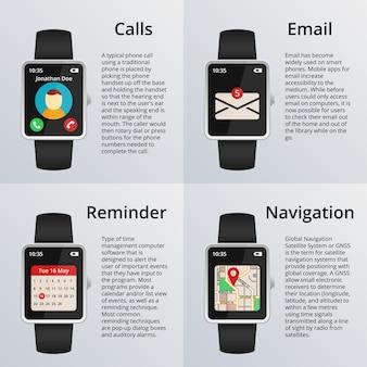 Reloj inteligente. recepción de llamadas y mensajes no leídos, mapa de navegación y calendario. tecnología y diseño, reloj y correo electrónico.
