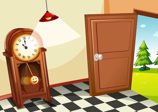Reloj de madera vintage en la habitación.