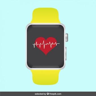 Reloj moderno con electrocardiograma