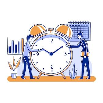 Reloj y personas de concepto de gestión del tiempo