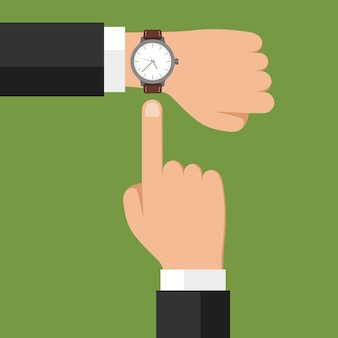 Reloj de pulsera a mano con el empresario que muestra la hora en su reloj, verificando la hora o el símbolo de la fecha límite
