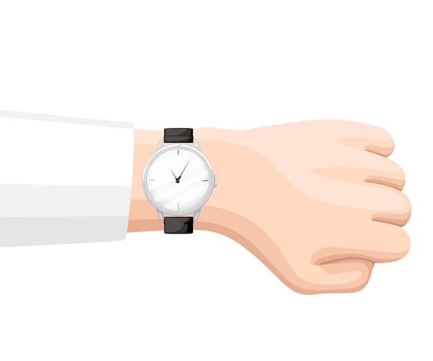 Reloj de pulsera plateado con correa negra en la mano. tiempo en reloj de pulsera.