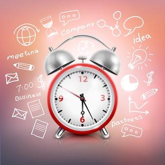 Reloj realista composición de la estrategia de negocios.