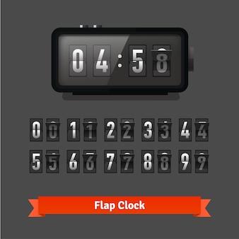 Reloj de solapa de tabla y plantilla de contador de números